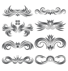 Design ornamental elements set Floral tattoo in vector