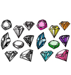 diamonds set doodle crystals vector image