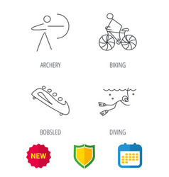 Diving biking and archery icons vector