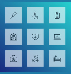 Drug icons line style set with disabled crutch vector