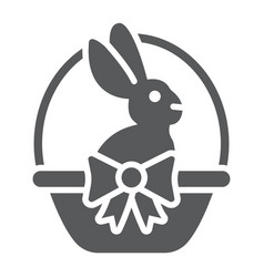 easter bunny in basket glyph icon easter and vector image