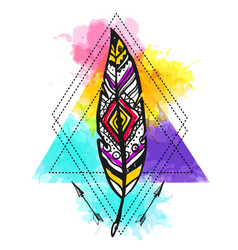 ethnic feather on watercolor background hand vector image