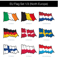 European union waving flag set - north europe vector