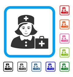 First-aid nurse framed positive icon vector