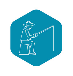 fisherman icon outline style vector image