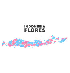 Flores islands of indonesia map - mosaic of love vector