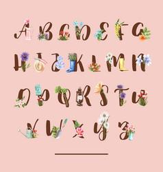 Flower garden alphabet design with tulip daisy vector