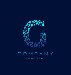 g letter logo science technology connected dots vector image