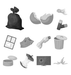 Garbage and waste monochrome icons in set vector