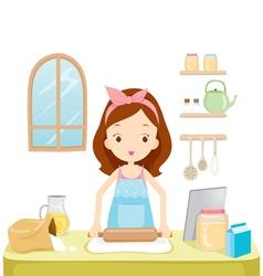 Girl Thresh Flour With TabLet vector