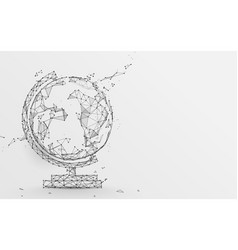 globe icon from lines triangles and particle vector image