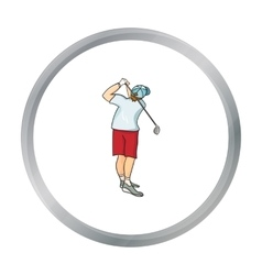 Golfer after kick icon in cartoon style isolated vector