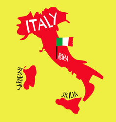 hand drawn stylized map italy travel of vector image