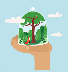 hand holding glass done with forest concept of vector image