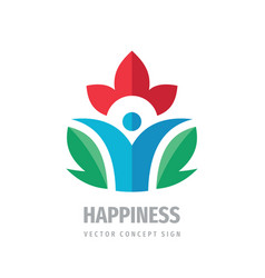 happiness wellness healthcare logo design vector image