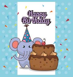 Happy birthday card with cute elephant vector