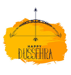 Happy dussehra watercolor festival card with bow vector