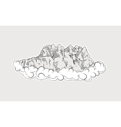High mountains in clouds vector image