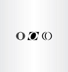 icons o letter black logo o set vector image