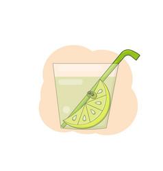 In cartoon style a lemon slice with bulging vector