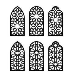 Islamic arch window or door set cnc pattern vector