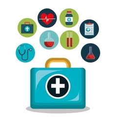 Kit icons healthcare medicine design isolated vector