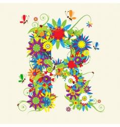 Letter R floral design vector