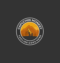 Logo monkey pose vintage badge vector