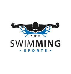 logo sport swimming in water vector image