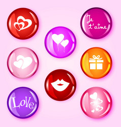 Love glossy buttons vector image