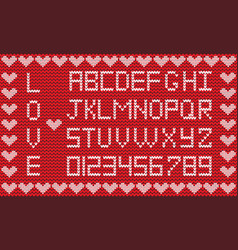 love knitted alphabet with hearts border vector image