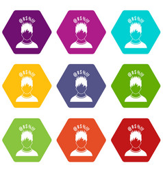 man with different signs over his head icon set vector image