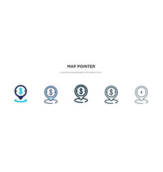 Map pointer icon in different style two colored vector