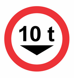 maximum weight traffic sign vector image