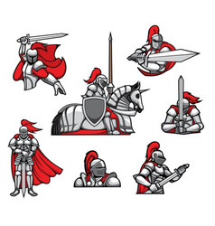 Medieval knights mascots and characters set vector