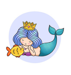 Mermaid laying on the seabed stroking golden vector