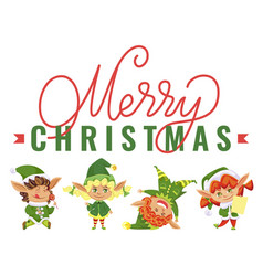 merry christmas sale smiling and jumping elves vector image