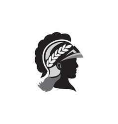 Minerva Head Side Silhouette Retro vector