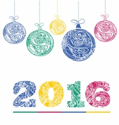 multicolor figures 2016 and christmas decorations vector image