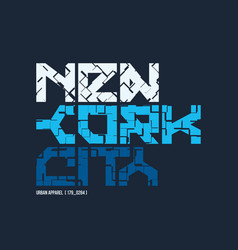 new york city styled t-shirt and apparel vector image