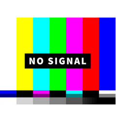 no signal tv test card color bars vector image