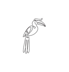 One continuous line drawing cute great vector