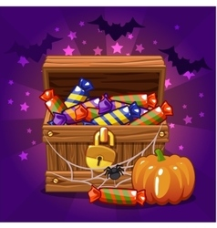 Open antique treasure chest with candy on vector image