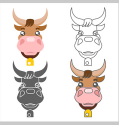 ox cow animal heads set design vector image