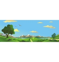 Panorama Landscape - the view from the hill to vector image