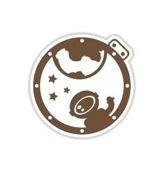 Paper sticker on white background cosmonaut vector