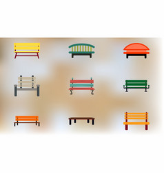 Park seats collection vector