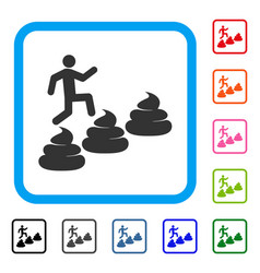 Person climbing shit levels framed icon vector