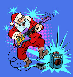 Playing electric guitar santa claus character vector