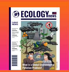 Pollution ecology magazine cover vector